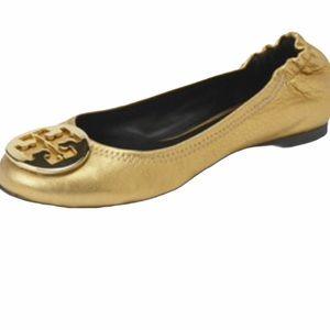 Tory Burch Leather Reva Gold 8 Dress Logo …